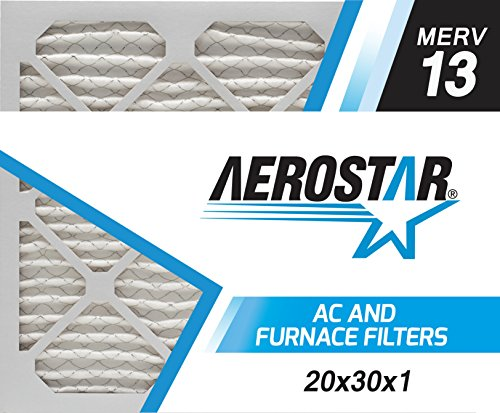 Aerostar Home Max 20x30x1 MERV 13 Pleated Air Filter, Made in the USA, Captures Virus Particles, (Actual Size: 19 3/4 x 29 3/4 x 3/4), 6-Pack