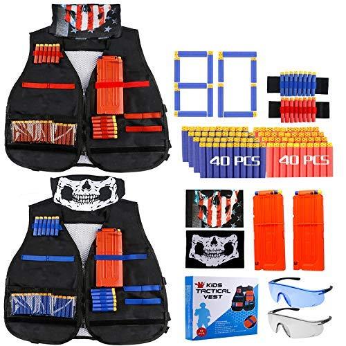 Gaflid Niños Chaleco Táctico, 2 Kit de Chaleco Táctico Nerf N-Strike Elite Series Juguetes Tácticos con 80 Espuma Dardos, 2 Quick Reload Clips, 4 Bullet Wrist Bands, 2 Scarf Mask, 2 Gafas