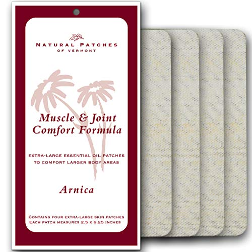 Natural Patches Of Vermont 00200 XL Arnica Muscle & Joint Comfort Essential Oil Body Patch, 2.5'x6.25', 4-Count Resealable