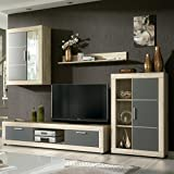 HomeSouth - Mueble de Comedor con Leds, Salon Vitrina Modelo Fiordo, Acabado Color Cambria...