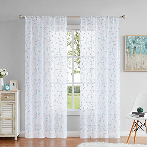 Fragrantex Aqua Botanical Leaf Sheer Curtains for Bedroom Swage Curtains 84 inches Long White and Spa Blue Embroidery Leaf Window Draperies for Living Room/Bedroom, Rod Pocket 1 Pair,W38xL84