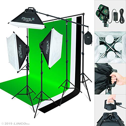Linco Lincostore 2000 Watt Photo Studio Lighting Kit with 3 Color Muslin Backdrop Stand Photography Flora X Fluorescent 4-Socket Light Bank and Auto Pop-Up Softbox - Only Takes 3 Seconds to Set-up