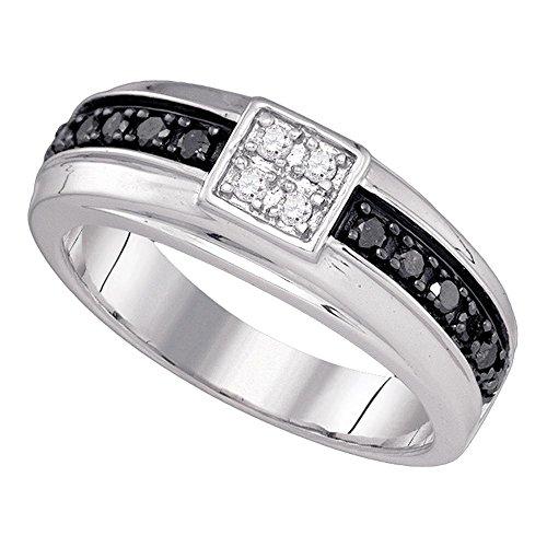 Jewels By Lux 10K Oro Blanco para Hombre Color Negro Diamante Aniversario de Boda Banda Anillo 3/8Quilates (I2-I3claridad, H-I Color)