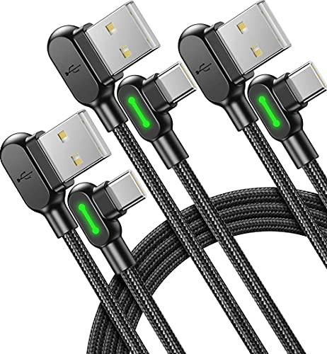 Mcdodo Cavo USB Type-C a 90 Gradi [3 Pezzi 0,5+1.2+3m] 3,1A QC 3,0 Cavo USB C Rapida, Trasferimento Dati, Nylon Intrecciato Cavo Type C Dati compatibili con Samsung S21 S20 Xiaomi Huawei OPPO ECC.