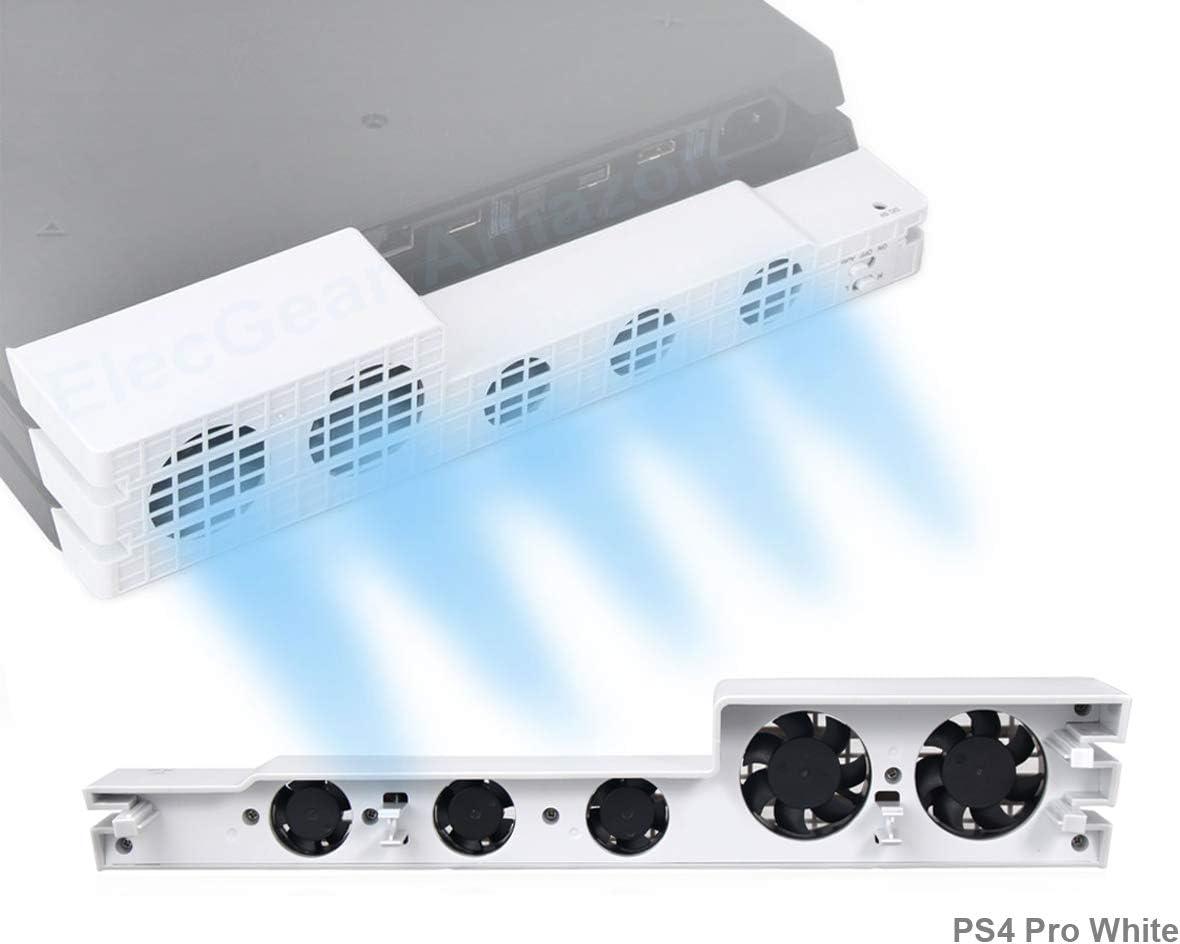PeakLead PS4 Pro Ventilador de refrigeración el Color Blanco Glacial White Turbo refrigerador Control De La Temperatura del Súper USB Cooling Fan Cooler para Sony Playstation 4 Pro