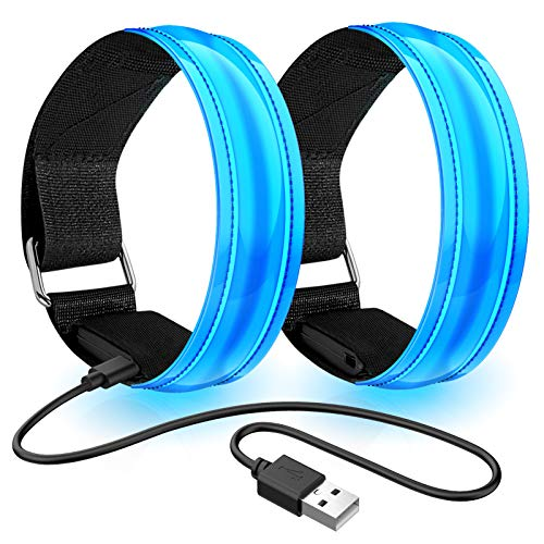 Led Armband Aufladbar, 2 STK Leuchtarmband USB Reflektorband Reflective Band Led Armbänder Leuchtband Kinder Reflektorbänder für Joggen Laufen Sport