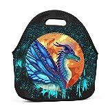 LEETOTEBAG Neoprene Lunch Box Wings of Fire Waterproof Lunch Bag Tote with Zipper for Kids Women Boys Mens Girls School Picnic