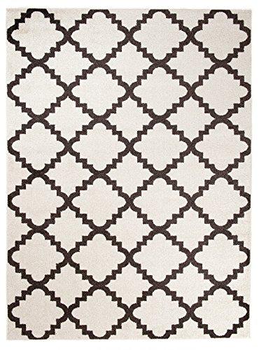 We Love Rugs - Carpeto Orientalisches Marokkanisches Teppich - Flor Modern Designer Muster - Wohnzimmer Schlafzimmer Esszimmer - Weiß Braun - 200 x 290 cm