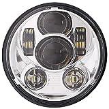 HANEU 5-3/4 faro rotondo da 5,75 pollici a LED compatibile con Dyna Street Bob Super Wide Glide Low Rider Night Rod Train Softail Deuce Custom Sportster Iron 883-Argento