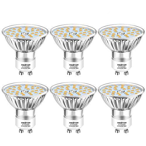 AMBOTHER GU10 LED Warmweiss, 6W 450LM LED GU10 Lampe ersetzt 50W Halogenlampe, 3000K Leuchtmittel Birnen Glühbirnen AC 220V-240V Nicht Dimmbar 120 ° Strahlwinkel Kein Flackern 6er Pack