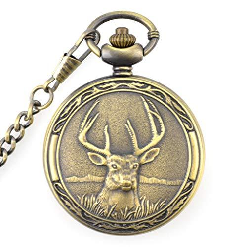 Retro Deer Half Hunter Design Case for Quartz Pocket Watch with Chains