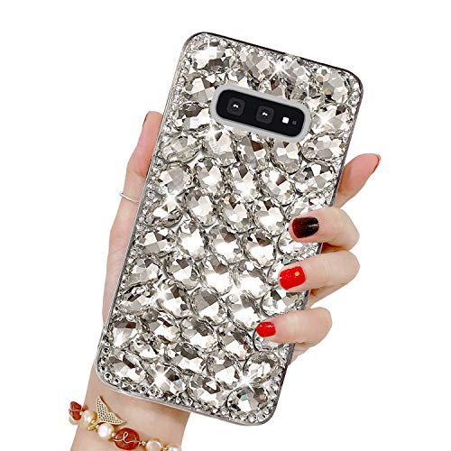 Diamant Strass Coque pour Galaxy S10 Lite, Misstars Transparente Bling Glitter Housse de Protection Souple TPU et Hard PC Arrière Antichoc Anti-Rayures pour Samsung Galaxy S10 Lite / S10e, Argent