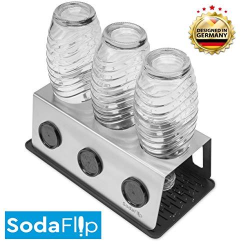 SodaFlip Abtropfhalter aus Edelstahl mit Abtropfwanne, Flaschenhalter Zubehör für Sodastream Crystal und andere Glasflaschen