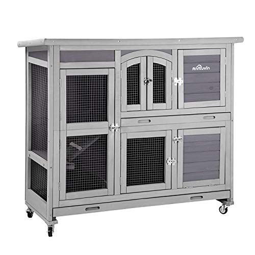 Aivituvin 47' Two Story Rabbit Hutch Bunny Cage with Wheels, Indoor Outdoor Guinea Pig Cage with 2 Deep No Leak Tray