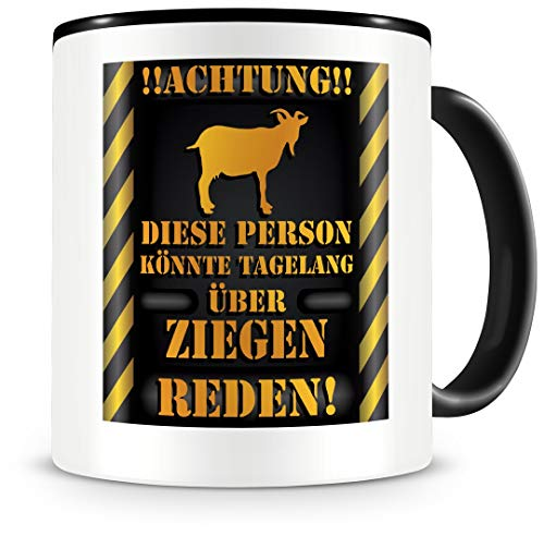 Samunshi® Ziegen Tasse mit Spruch Geschenk für Männer Frauen Kaffeetasse groß Lustige Tassen zum Geburtstag schwarz 300ml