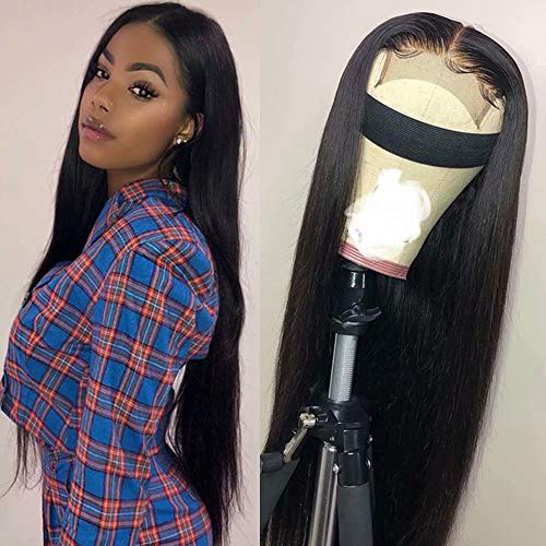 Maxine 4x4 Lace Front Wigs Straight Wave Human Hair Wigs Brazilian Human Hair Lace Closure Wigs for Black Women with Adjustable Straps 150% Density (1