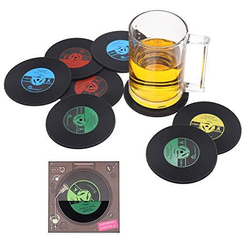ZHEZHE 8 Retro Vinyl LP Schallplatten Stil Untersetzer Tasse Matte rutschfeste Isolierte Kaffee Getränke Matte