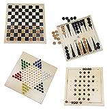Spielesammlung aus Holz 4 Spiele Dame Halma Backgammon Solitaire