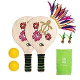 LIOOBO Jeu de pagaie en Bois avec Volant de Raquette en Bois et Plage de Balle Jouant avec des Jouets de Sport pour Enfants