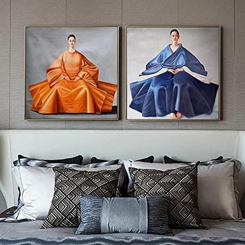 Heminredning koreansk japansk östkvinna canvasmålning fantastisk klädsel affisch och tryck väggkonst bilder för vardagsrum 30 x 30 cm x 2 utan ram