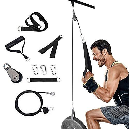 Sistema de cable de polea para ejercicios de bricolaje, sistema de polea para gimnasio, bíceps, tríceps, antebrazo, entrenador de muñeca, brazo trenzado, cuerda desplegable con asas y pasador de carga