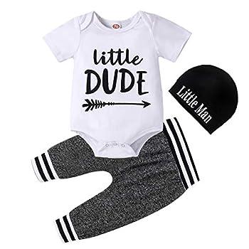 Baby Boy Clothes Summer Newborn 3Pcs Infant Romper Short Sleeve + Pants + Hat Outfits Set Letter Printed 0-3 Months 70cm
