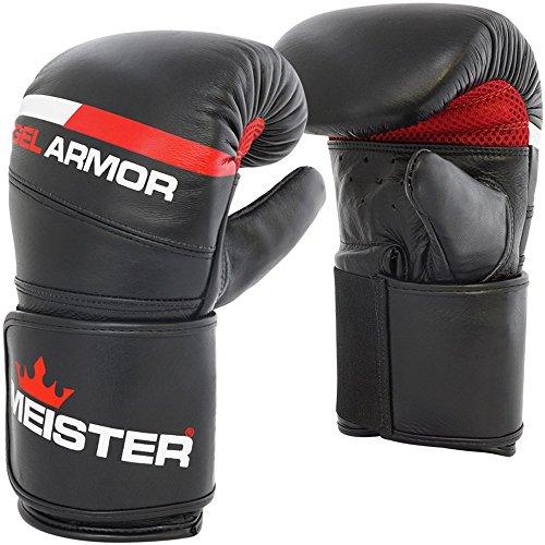 Meister Gel Armor Full-Grain Cowhide Leather Bag Mitts w/Wrist Support - Black - Small/Medium (14oz)