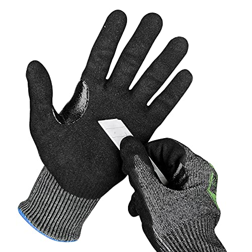OKIAAS Cut Resistant Work Gloves Level 6, Touchscreen, Foam Nitrile Sandy Coated Safety Work Gloves With Grip, for Woodworking, Construction, Gardening, HVAC, Metal Detecting Medium, Size 8