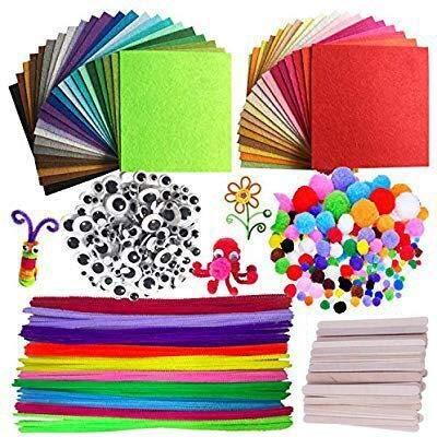 DOITEM Pipe Cleaners Crafts Set, Tuyaux Chenille et Pompoms avec Googly Eyes et bâtonnets Craft Assortiment de Couleurs Feutre de Tissu en Feutre Non tissé pour Bricolage 590 Pièces