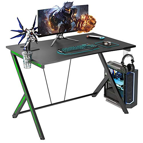 GALAXHERO 45.2' Large Gaming Desk, Gamer Computer Desk with Headphone Hook and Cup Holder, Home Office PC Workstation for E-Sports Use, Free XL Mouse Pad, Black&Green, GX-PS
