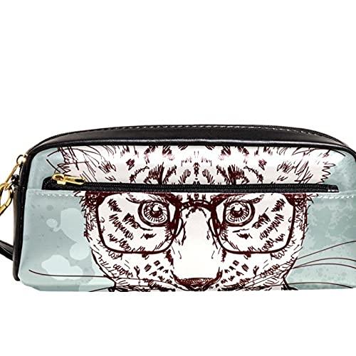 Hipster Leopard con gafas y traje estuche de gran capacidad para lápices, organizador de bolígrafos para escuela, adolescentes, niños, niñas, hombres y mujeres