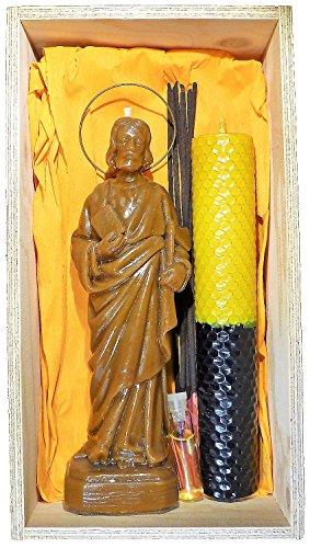 Candle Art Ritual San Judas Tadeo Abogado de lo Imposible, Cera de Abeja con Plantas, RITUALIZADA