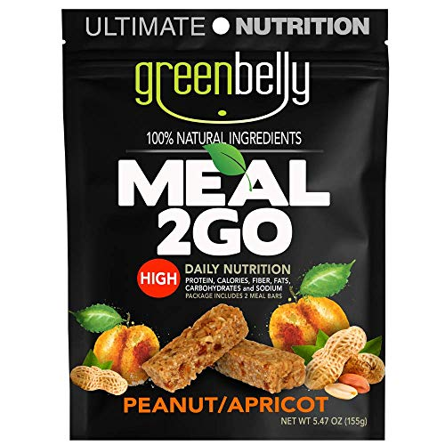 Greenbelly Backpacking Meals - Backpacking Food, Appalachian Trail Food Bars, Ultralight, Non-Cook, High-Calorie, Gluten-Free, Ready-to-Eat, All Natural Meal Bars (Peanut Apricot, 4 Meals)