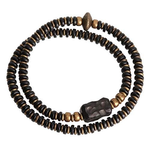 NJIANGHUA Pulseras para hombre y mujer, pulsera espaciadora de madera de varias capas, pulseras budistas tibetanas, cobre negro, madera tallada a mano, unisex para hombre y mujer