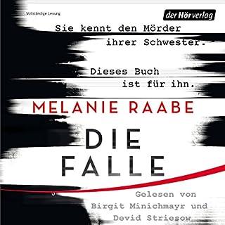 Die Falle                   Autor:                                                                                                                                 Melanie Raabe                               Sprecher:                                                                                                                                 Devid Striesow,                                                                                        Birgit Minichmayr                      Spieldauer: 10 Std. und 24 Min.     826 Bewertungen     Gesamt 4,0