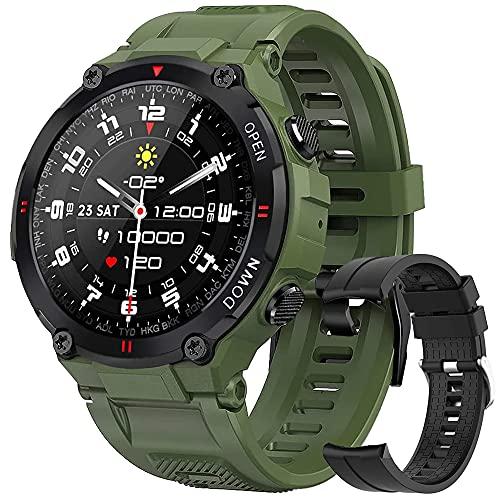 Smartwatch Hombre con Esfera Personalizada, Reloj Inteligente Impermeable con Notificación de Mensajes, Monitor de Sueño,Podómetro,Calorías, Pulsera Actividad Inteligente para iOS Android (Verde)