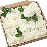 JaosWish Rose Artificielle Fausse Fleur Blanche 25 pcs Tige Feuille Ajustable Touche réelle déco Mariage Restaurant Maison Anniversaire Chambre Table Armoire