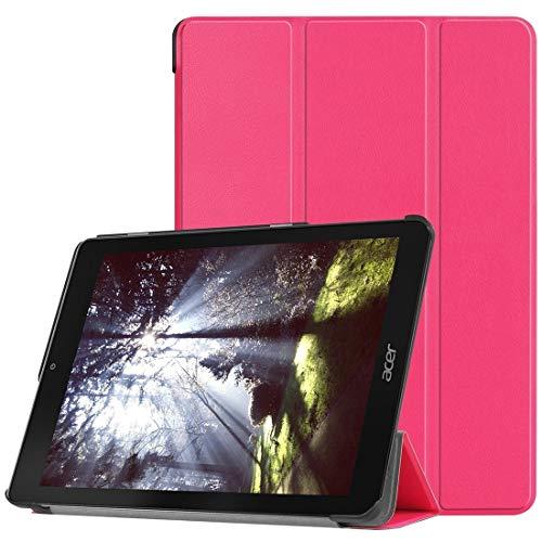 Liluyao Más Casos para Tableta Custer Texture Horizontal Flip Funda de Cuero PU for Acer Chromebook Tab 10, con Soporte Plegable Tres (Color : Magenta)