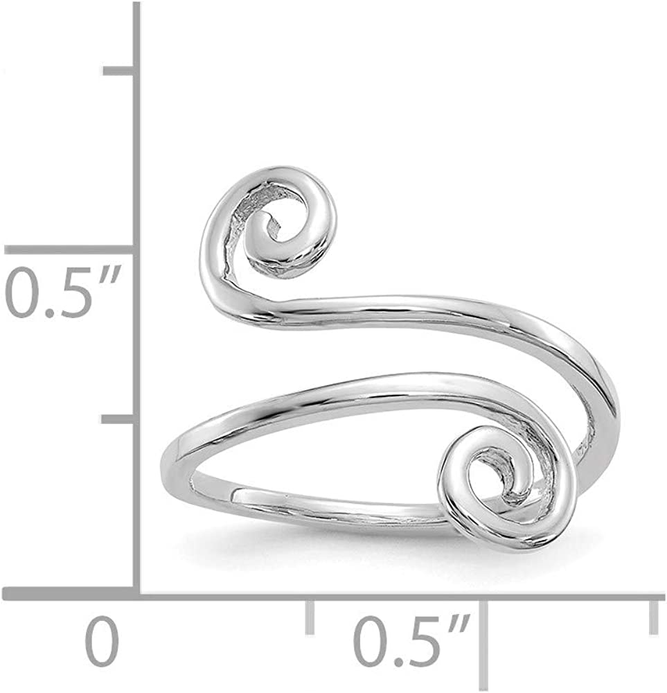 14k White Gold Swirl Adjustable Cute Toe Ring Set Fine Jewelry For Women Gifts For Her