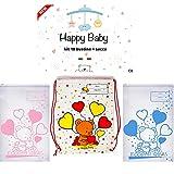 Happy Baby 10 sacchetti cambio neonato ospedale,set asilo, impermeabili, ermetiche, regalo neonato (AZZURRO+SACCA)