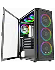 MUSETEX 6pcs 120mm ARGB Fans and 2pcs USB 3.0 Mesh Mid-Tower ATX Gaming PC Case, Opening Tempered Glass Panels Gaming Computer Case Desktop Cases 2021 Released ATX/Micro ATX/ITX (Black,TW8-S6)