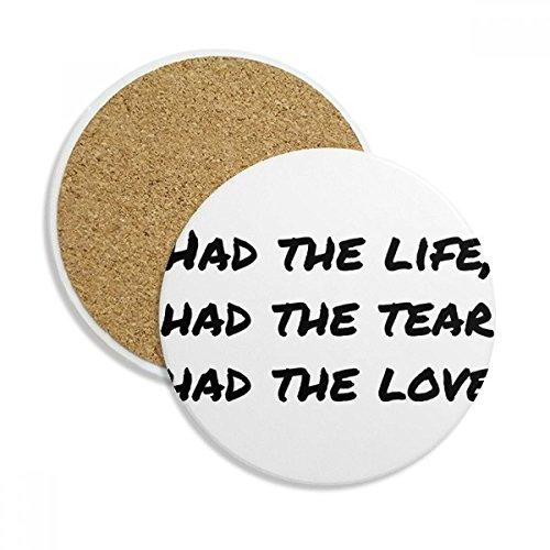 Caneca com citação de poesia famosa vida lágrima amor porta-copos caneca de mesa pedra absorvente de proteção de mesa