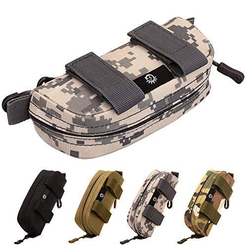 Selighting Étui à Lunettes Portable Tactique Zippé Molle Boîte de Protection pour Lunettes (Camouflage gris)