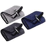 Favritt 3 Pack Tri-fold Golf Towel | Premium Microfiber Fabric Waffle Pattern Towel | Heavy Duty Carabiner Clip| Golf Accessories for Men | Women(3 Colors,3Pcs)