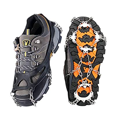 Springk Traction Cleats Ice Snow Grips Ice Creepers, Anti Slip 18 Stainless Steel Microspikes Crampons for Men Women Walking Jogging Hiking and Mountaineering