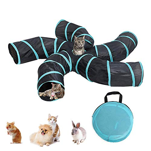 Cuttey - Túnel para gato, plegable, 5 way gato, túnel, gato, tienda, taladro, juguete, animal, pelota de juguete para gato, cachorro, gato, conejo, respetuoso con el medio ambiente