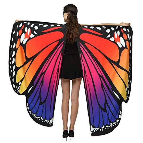 ALISIAM Moda de Mujer de Doble Capa Impresión de Doble Cara Alas de Mariposa Chal Señoras Capa Capa Accesorio de Disfraz, 168x135 cm