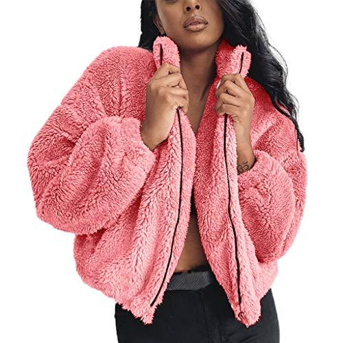 BOLANQ Damen Winter Jacke Dicker Warm Bequem Slim Parka Mantel Lässig Mode Frauen Mit Kapuze Pullover Wolle Reißverschluss Baumwollmantel Outwear