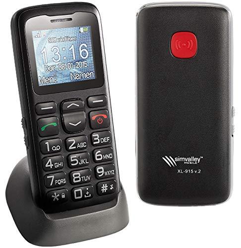 simvalley MOBILE schnurlos Telefon: Komfort-Handy XL-915 V2 mit Garantruf & Ladestation (Mobiltelefone)