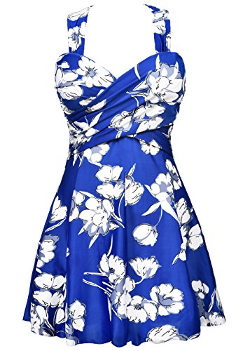 COCOPEAR Women Elegant Crossover One Piece Swimdress Floral Skirted Swimsuit(FBA),Blue Floral,Medium / 6-8